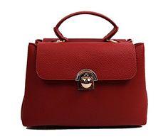 Womens Fashion Faux Leather Shoulder Handbag Nq2017 Burgundy Click Image For More Details