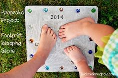 When my first daughter was about 9 months old, my husband and I made a stepping stone with her hand print on it and it was so cute. Four years later, I wanted to do a footprint stepping stone, with all three of our girls' footprints on it. I bought a stepping stone kit from Michaels for about...