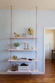 Stylish shelves like these DIY ones are just as aesthetically appealing as wall art ... with the added bonus of storage!