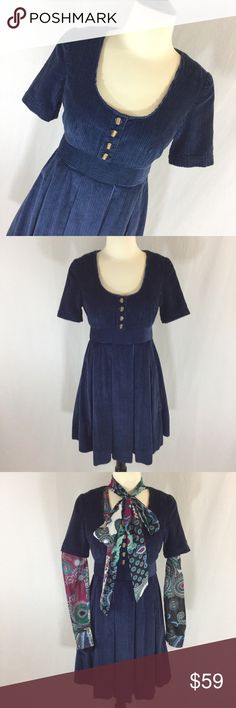 Retro style NWT navy corduroy pleated Tulle dress Adorable retro styling in this heavy corduroy pleated a-line skirt dress from Tulle size XS, new with tags. Back zip does not go all the way to neck see pic. Partially lined. Stylish and fun dress. Tulle Dresses