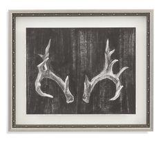 Belgian Luxe 'Rustic Antlers I' Framed Painting Print