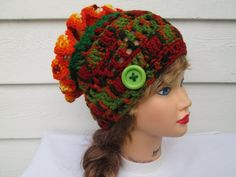 Three ways to ware this gorgeous fantastic hat !!!!!!!  This hat will fit most teens and adults. Ultra soft wonderful yarn - Red Heart With Love
