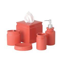 Charlton Home Noemi 5 Piece Bathroom Accessory Set Color Coral Naranja