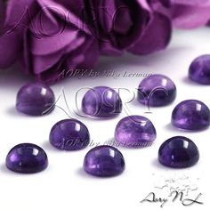 1pcs 6mm Natural African Amethyst Cabochon Round Shape by AoryNL