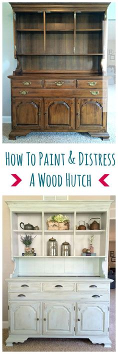 Tips on How To Paint & Distress A Hutch to bring it back to life!  #furnituremakeover