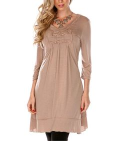 Take a look at this Taupe Square Ruched Tunic - Women & Plus by Aster on #zulily today! $15 !!