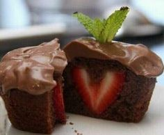 Choclate dessert with strawberry center