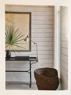 White/gray washed shiplap wall