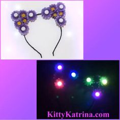 #LUVIT 😍 A Customizable LED Cat Ears Headband heading to a LUVly Flower Child - they selected Dark Purple Daisies and Rainbow LED Lights - such a pretty combination! ✨💜✨ Customize your LED Cat Ears at KittyKatrina.com in our LED Crowns / Headbands Section 😘 #ledflowercrown #flowercrown #flowerheadband #flowerchild #ravecostume #raveoutfit #ravewear #festivalfashion #festivalstyle #edmfashion #edmstyle #burningman #nocturnalwonderland #electriczoo #escape