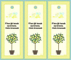 """free recipe cards   Lemonade Bookmarks.  """"Cuando la vida te ofrece limones, haz limonada"""""""