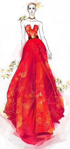 Alexander McQueen S/S 2013 - illustration by ©Pat Chiang (IEatCoffee) http://ieatcoffee.tumblr.com/post/54146625852/alexander-mcqueen-ss13-collection-bees-bees