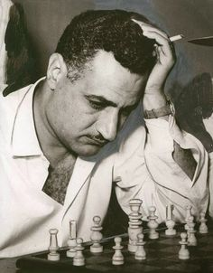 The late President Gamal Abdel Nasser and a moment of thinking during the game of chess