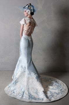 How stunning this light blue wedding dress! Eugenia Couture, 2014