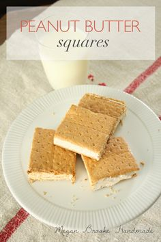 Yummy recipe for peanut butter squares, an ice cream like treat. #recipe #peanutbutter #dessert