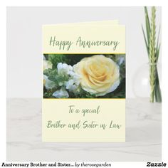 Anniversary Brother and Sister in Law Rose Card Anniversary Congratulations, Wedding Anniversary Wishes, Best Anniversary Gifts, Happy Anniversary Cards, Anniversary Flowers, Husband Anniversary, Online Greeting Cards, Custom Greeting Cards, Yellow Roses