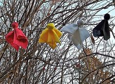 Prayer bundles/ties.  Saw these hanging from the trees when I was in Wyoming. They are left by the Indians in the area.