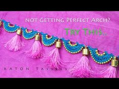If you are not getting perfect arch shape, try this Beaded Arch design. You will definitely get perfect arch. Saree Kuchu New Designs, Saree Tassels Designs, Fancy Blouse Designs, Crochet Flower Tutorial, Crochet Flowers, Feather Design, Beaded Jewelry Patterns, Hand Designs, Beading Tutorials
