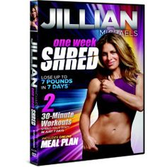 Jillian Michaels One Week Shred (018713612816) Two 30 minute workouts shred your body in just 7 days A comprehensive one-week diet and exercise plan in 2 30-minute workouts per day