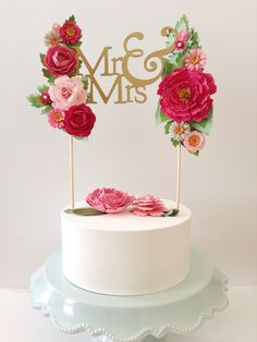 Custom wedding paper cake topper personalized with your text and colors Bride & Groom handmade flowers