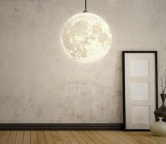 Get creative decorating with this stunning full moon hanging light! Design made based on real panorama-gram of the surface of the moon! Made from PVC plastic. Hanging cable measures Voltage: 110 - Wattage: LED light bulbs not included. Best Desk Lamp, Lumiere Led, Bedroom Lamps, Kids Bedroom, Bedroom Ideas, Modern Lighting, Lighting Ideas, Luxury Lighting, Hanging Lights