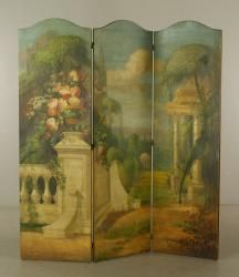 4045 - Hand Painted Canvas Folding Screen June Estate Auction | Official Kaminski Auctions
