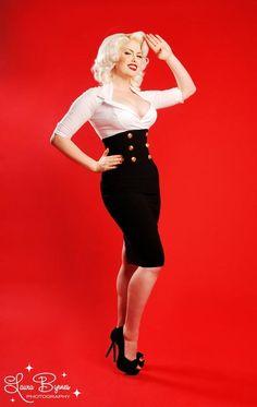 Original Design Pinup Girl Clothing Military Secretary Dress Black/White Size XL
