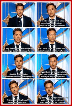 So this is what happens when you let RDJ present a Golden Globe..