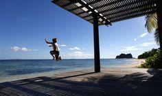 Vomo Fijian Resort, Jumping out on Mamanuca Beach.