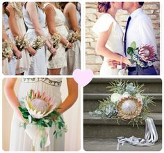 Simple country posies in the top left image for the bridesmaids with simple protea bouquet for bride Bride Bouquets, Bridesmaid Bouquet, Bridesmaid Dresses, Wedding Dresses, Bridesmaids, Wedding Trends, Wedding Ideas, Protea Bouquet, Wedding Mood Board