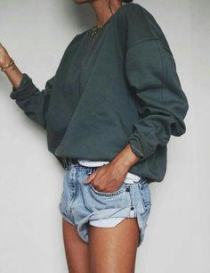 Tortoise sweater and shorts. Simple and casual for spring. It gets cold in the night even though its hot in the day. #casualoutfit