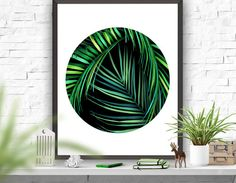 Palm Tree Abstract Art Poster Palm Leaf Printable Instant Download Minimalism Wall Decor Green Decor Circle Abstract Poster 8x10 16x20 22x28