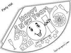 Printable Happy New Year Party Hats Coloring For Kidsfree Activities