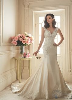 Our stunning collection of fit and flare wedding dresses in lace, satin, and sil. - Our stunning collection of fit and flare wedding dresses in lace, satin, and silk designs as well a - Lace Wedding Dress, Fit And Flare Wedding Dress, 2016 Wedding Dresses, Designer Wedding Dresses, Bridal Dresses, Wedding Gowns, Party Dresses, Women's Dresses, Bridesmaid Dresses