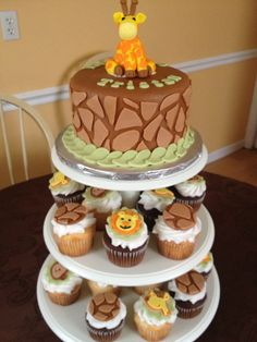 Jungle Baby Shower Cake and Cupcakes - 6 inch cake with fondant. Cupcakes with BC and fondant accents. TFL