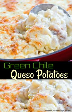 Green Chile Queso Potatoes Potato Side Dishes, Vegetable Side Dishes, Vegetable Recipes, Veggie Side, Rice Dishes, Main Dishes, Mexican Dishes, Mexican Food Recipes, Mexican Meals