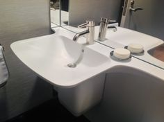 """Glacier White"" thermoformed Corian sink. Fabrication by Sterling Surfaces."
