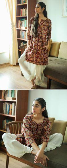 Designer- Why So Blue Kalamkari Kurti, Khadi Kurta, Kalamkari Dresses, Dress Indian Style, Indian Dresses, Indian Wear, Indian Outfits, Kurta Designs Women, Salwar Designs