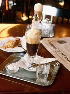 A Viennese specialty, the Einspänner is a double espresso topped with house-made whipped cream, served in a clear glass and often with a little Viennese chocolate on the side. A waiter will nod at the order