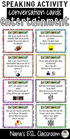 Ignite conversation in your classroom with these engaging conversation starter cards about forms of entertainment. A total of 40 cards with one or more questions per card. Learn English Grammar, English Fun, English Lessons, English Learning Spoken, English Vocabulary, Teaching English, English Topics For Speaking, English Conversation For Kids, Conversation Cards