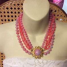Excited to share the latest addition to my #etsy shop: Pink beaded multi strand . #marbled #1960sfashion #beadsbeaded #acrylic #necklace #multistrand #pink