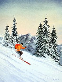Prints of The Clear Leader Skiing painting by the artist  Bill Holkham now available via this link.