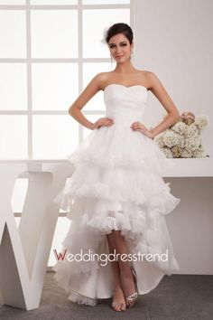 Asymmetrical Tiered Sweetheart A-line Wedding Dress with Ruffles - Beautiful Wedding Dresses Online Wholesaler and Retailer