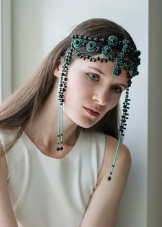 Dam, now there's a head-dress. Black Head jewelry/ beaded head piece/ black and by RasaVilJewelry