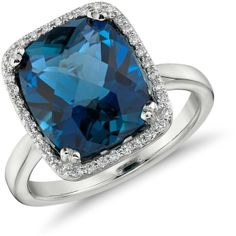 Blue Nile London Blue Topaz and Diamond Halo Cushion-Cut Ring in 14k... ($1,080) ❤ liked on Polyvore