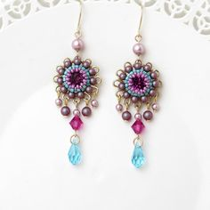 Colorful earrings, Crystal chandelier earrings, Floral earrings, Boho chic earrings, Long drop earrings, Crystal drop earrings by LioraBJewelry on Etsy