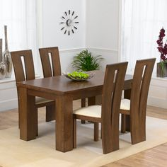 Pacific dark solid oak furniture small dining table and 4 havana chairs set Small Square Dining Table, Wooden Dining Table Designs, Dinning Table Design, 4 Seater Dining Table, Contemporary Dining Table, Wooden Dining Tables, Dining Room Table, Small Dining, Dining Set