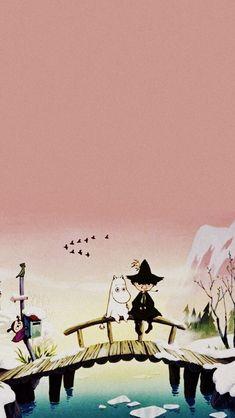 Moomin Wallpaper, Computer Wallpaper, Iphone Wallpaper, Deco Paint, Moomin Valley, Cool Backgrounds, Vintage Cartoon, Little My, Pretty Wallpapers