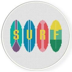 Charts Club Members Only: Surf Cross Stitch Pattern Pearler Bead Patterns, Perler Patterns, Crochet Patterns, Embroidery Applique, Cross Stitch Embroidery, Cross Stitch Designs, Cross Stitch Patterns, Simple Cross Stitch, Crochet For Boys