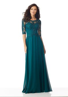 Chiffon Mother of the Bride Gown with Beaded and Embroidered Appliqués on Net