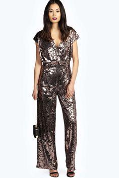 Boutique Anna All Over Sequin Wrap Jumpsuit alternative image